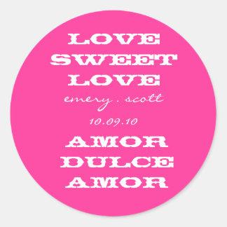Amor doce do amor, esmeril. scott 10.09.10, Amor Adesivos Em Formato Redondos