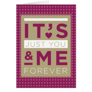 Amor dos namorados você & mim para sempre roxo cartão comemorativo