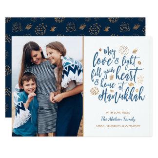 Amor e cartão com fotos leve de Hanukkah Convite 12.7 X 17.78cm
