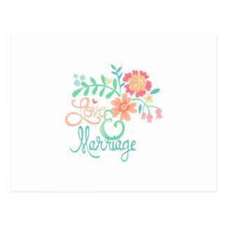 Amor e casamento florais cartão postal