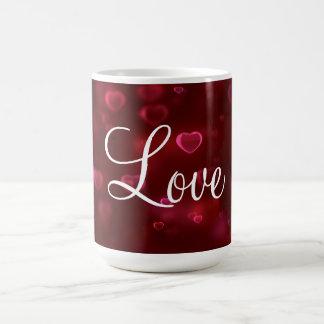 Amor e corações do dia dos namorados caneca de café