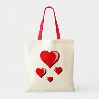 Amor e dia dos namorados vermelhos dos corações sacola tote budget