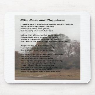 Amor e felicidade da vida mouse pad