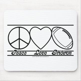 Amor e grelha da paz mouse pads