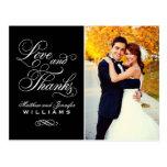 Amor e obrigado Wedding do cartão dos obrigados    Cartões Postais