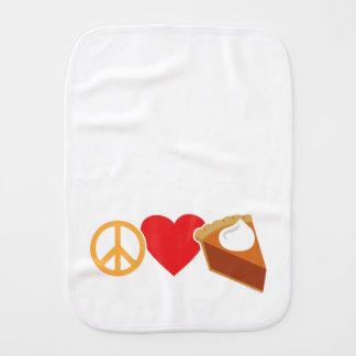 Amor e tarte de abóbora da paz paninho de boca
