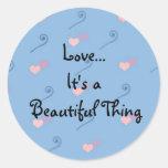 Amor… é uma coisa bonita adesivos em formato redondos