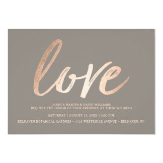 Amor elegante da folha do falso do roteiro convite 12.7 x 17.78cm