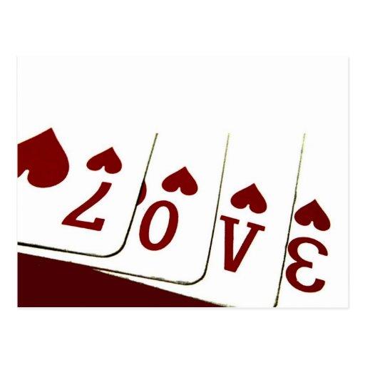 Amor em cartões de jogo do coração cartão postal