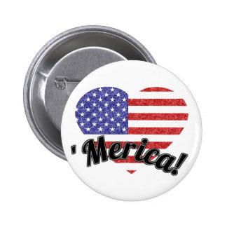 Amor 'Merica! Bandeira americana dada forma coraçã Botons