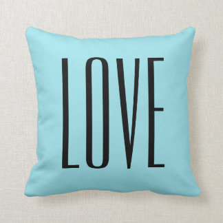 Amor moderno do azul de turquesa da tipografia almofada