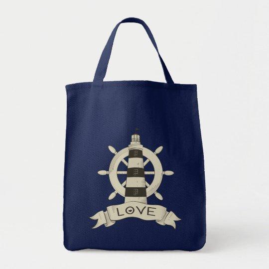 Amor náutico do marinheiro da praia da roda do bolsa tote