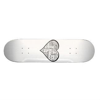 Amor no coração de muitas línguas shape de skate 18,7cm