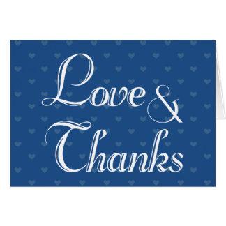 Amor & obrigado azul do coração dos obrigados você cartão de nota