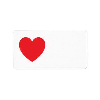 Amor ou dia dos namorados vermelho do coração etiqueta de endereço