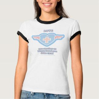 Amor outro um coração azul camisetas