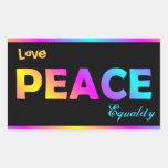 Amor, paz, etiquetas da igualdade adesivos
