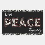 Amor, paz, etiquetas da igualdade adesivos em forma retangular