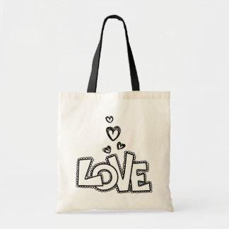 Amor preto laçado e corações - casamento bolsa tote