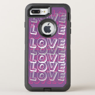 Amor, Purrple & caso cor-de-rosa de Otterbox Capa Para iPhone 7 Plus OtterBox Defender