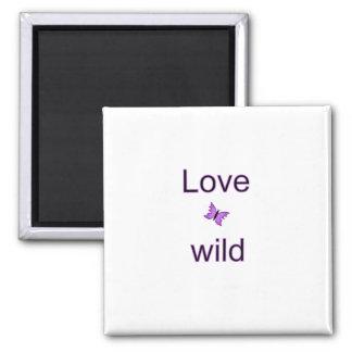 Amor selvagem - borboleta ímã quadrado