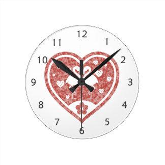 Amor Textured do flamingo do coração Relógio Redondo
