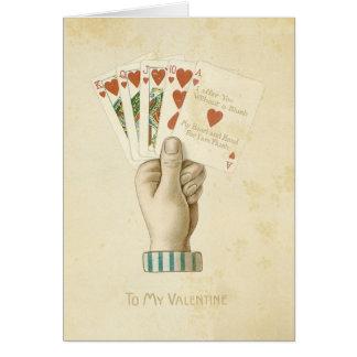 Amor vermelho dos corações da mão de póquer do dia cartão
