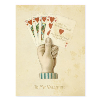 Amor vermelho dos corações da mão de póquer do dia cartões postais