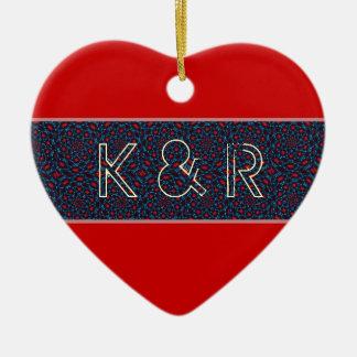 Amor vermelho e azul do coração do moorish ornamento de cerâmica coração