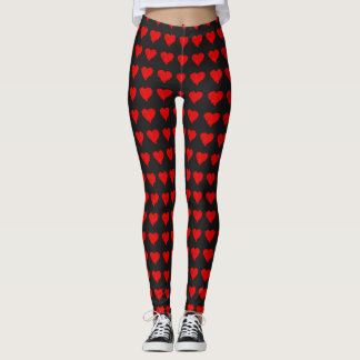 Amor vermelho quente dos corações do dia dos legging