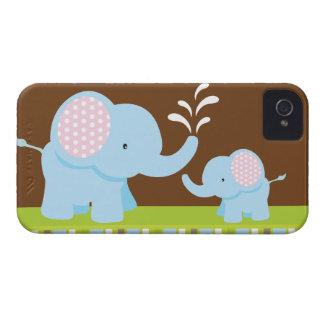 Amora-preta bonito adorável dos elefantes dos dese capa de iPhone 4 Case-Mate