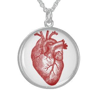 Anatomia do coração do vintage colar com pendente redondo