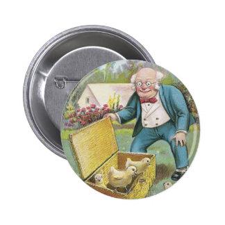 Ancião e páscoa nova do vintage dos pintinhos boton