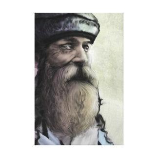 Ancião engraçado com barba longa impressão em canvas