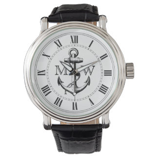 Âncora, monograma náutico relógio