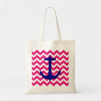 Âncora náutica azul e sacola cor-de-rosa de bolsa tote