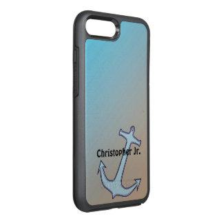 Âncora no Aqua e no Tan personalizados Capa Para iPhone 7 Plus OtterBox Symmetry