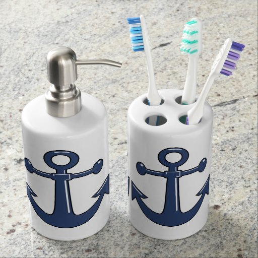 Âncoras azuis marinhas náuticas do barco kits de banheiros