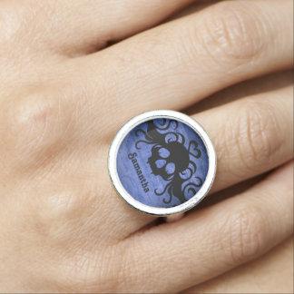 Anéis Com Foto Crânio azul do gótico