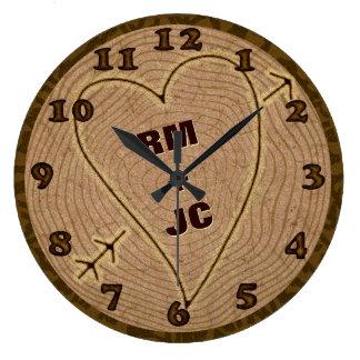 Anéis de árvore de madeira cinzelados coração das relógio grande