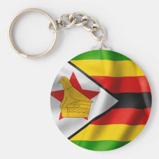 Anel chave do botão básico da bandeira de Zimbabwe Chaveiro