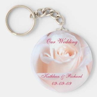 Anel chave do casamento cor-de-rosa romântico chaveiros