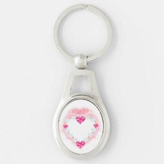 anel chave do coração cor-de-rosa dos namorados chaveiro oval cor prata