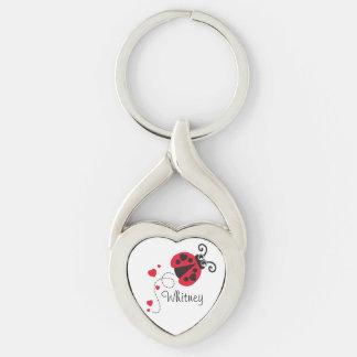 Anel chave nomeado joaninha do coração do amor chaveiro coração torcido cor prata