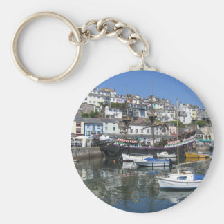 Anel chave redondo com imagem do porto de Brixham Chaveiro