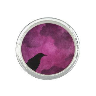 Anel Com Imagem Impressões assustadores do corvo do Dia das Bruxas