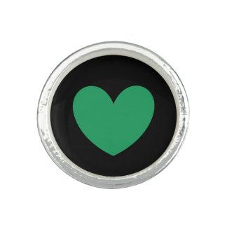 Anel Corações verdes da polca de Kelly no preto