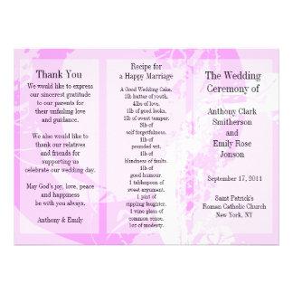 Anel do rosa do folheto do programa do casamento convites personalizado