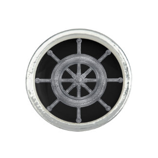 Anel Roda de Dharma - metálico de prata de Dharmachakra