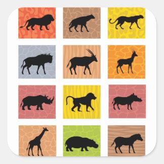 Animais africanos adesivo quadrado